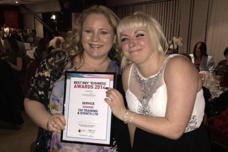 CSI Training and Events - Directors Angela and Dionne at the best new businss awards, as nominees