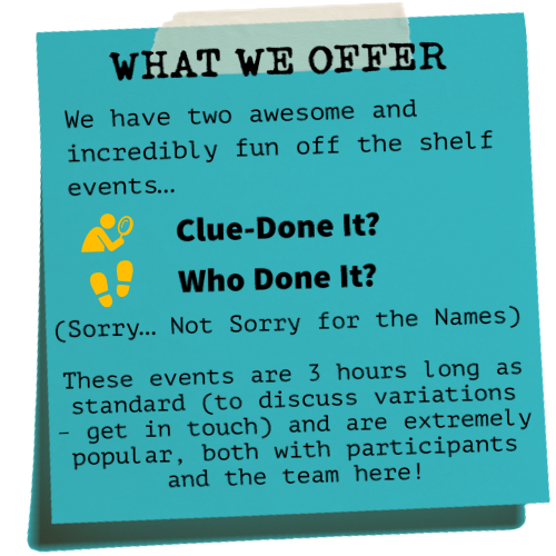 CSI Training and Events - Corporate Events offering on a post-it note