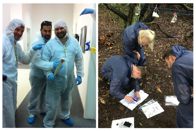 CSI Training and Events - Delegates taking part in a CSI Team building event and Forensic Trail