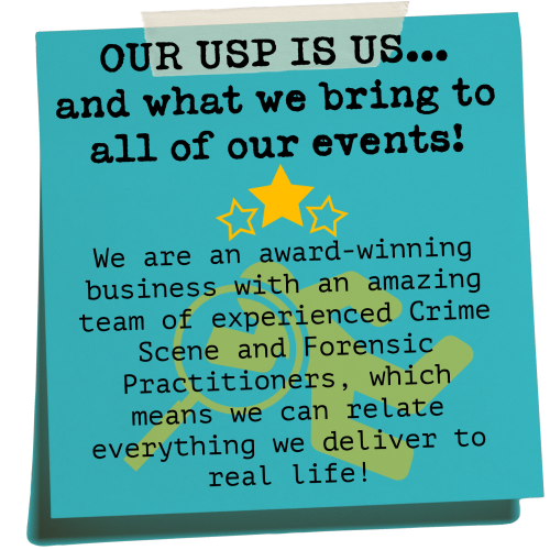 CSI Training and Events - Home page postit note explaning our USP